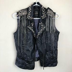 Zara size S Black Studded Faux Leather Rocker Vest